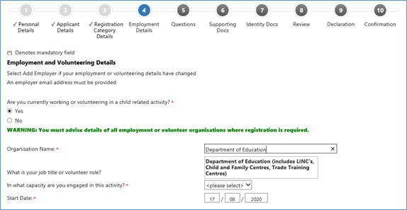 Text and search field to use when searching for an employer or organisation name in the RWVP online registration system