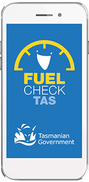 Blue background with fuel check text and Tasmanian Government logo